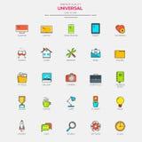 Linha lisa ícones modernos do universal da cor Imagens de Stock Royalty Free