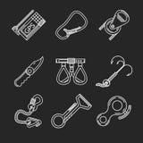 Linha lisa ícones para a escalada Imagem de Stock