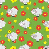 Linha lisa animal bonito do teste padrão sem emenda do vetor da cor para produtos do bebê - carneiros Estilo dos desenhos animado Fotografia de Stock Royalty Free
