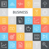 Linha lisa Art Modern Business Icons Set do vetor Fotos de Stock Royalty Free
