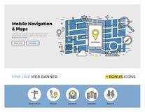 Linha lisa bandeira da navegação móvel Fotos de Stock