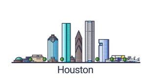Linha lisa bandeira de Houston ilustração stock
