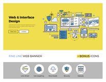 Linha lisa bandeira do projeto do Web site Foto de Stock Royalty Free