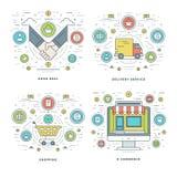 A linha lisa bom negócio, serviço de entrega, compra, conceitos do comércio do negócio ajustou ilustrações do vetor Imagem de Stock