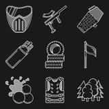 Linha lisa branca ícones para o equipamento do paintball Imagem de Stock Royalty Free