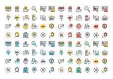 Linha lisa coleção colorida dos ícones da compra em linha