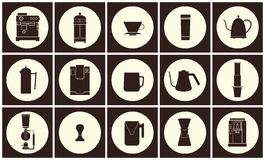 Linha lisa coleção do vetor do equipamento do café do ícone Foto de Stock