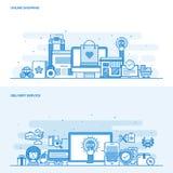 Linha lisa compra do conceito da cor e serviço de entrega em linha ilustração do vetor