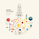Linha lisa conceito do esboço do foguete da educação de Infographic Vetor IL ilustração stock