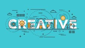 Linha lisa conceito do projeto - criativo ilustração stock
