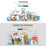 Linha lisa conceito do projeto - descubra e estratégia de marketing Foto de Stock Royalty Free
