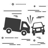 Linha lisa conceito gráfico da imagem do projeto do caminhão e do acidente de viação ilustração royalty free