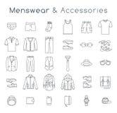 A linha lisa da roupa e dos acessórios da forma dos homens vector ícones ilustração do vetor