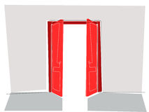 Linha lisa das portas vermelhas Imagem de Stock Royalty Free