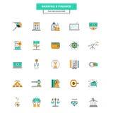 Linha lisa depositar e finança dos ícones da cor Fotografia de Stock
