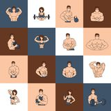 Linha lisa dos ícones do gym da aptidão do halterofilismo Fotos de Stock Royalty Free