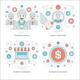 A linha lisa empregado da busca, comércio do Internet, investimento, conceitos do sucesso comercial ajustou ilustrações do vetor Imagens de Stock