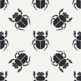Linha lisa erro sem emenda da fauna dos animais selvagens do teste padrão do vetor, escaravelho Estilo retro simplificado dos des ilustração do vetor