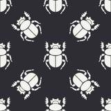 Linha lisa erro sem emenda da fauna dos animais selvagens do teste padrão do vetor, escaravelho Estilo retro simplificado dos des ilustração stock