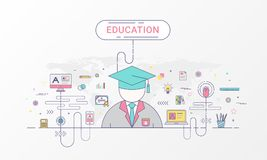 Linha lisa estilo da bandeira infographic da educação criado pelo vetor ilustração stock