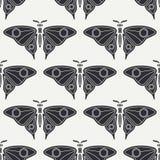 Linha lisa fauna sem emenda dos animais selvagens do teste padrão do vetor, borboleta Estilo retro simplificado dos desenhos anim ilustração stock