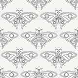 Linha lisa fauna sem emenda dos animais selvagens do teste padrão do vetor, borboleta Estilo retro simplificado dos desenhos anim ilustração do vetor