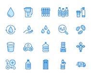 Linha lisa grupo da gota da água dos ícones Filtro do Aqua, emoliente, ionização, desinfecção, ilustrações de vidro do vetor Sina ilustração stock