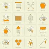 Linha lisa grupo dos ícones do mel da abelha Fotografia de Stock Royalty Free