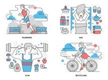 Linha lisa ilustração da vida saudável ilustração royalty free