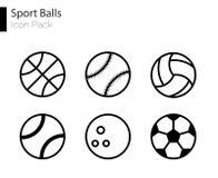 Linha lisa m?nima grupo das bolas dos esportes do ?cone do vetor imagem de stock royalty free