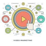 Linha lisa mercado video do conceito do negócio Ilustração do vetor Ícones lineares finos modernos do vetor do curso Imagens de Stock