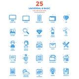 Linha lisa moderna ícones da cor universais e básicos Fotos de Stock Royalty Free