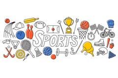Linha lisa projeto da arte do conceito dos esportes ilustração stock