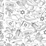 Linha livro para colorir sem emenda do Hanukkah da ilustração do vetor do projeto da arte Imagens de Stock