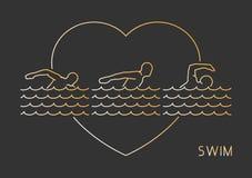 Linha logotipo do ouro para a nadada ilustração royalty free