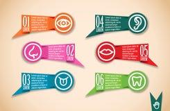 Linha médica bandeiras do origâmi do ícone ajustadas Imagem de Stock Royalty Free