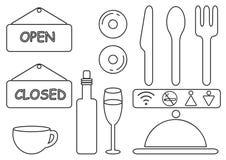 Linha magro ícones de Minimalistic do vetor do restaurante do alimento Não fumadores Eps 10 Foto de Stock Royalty Free