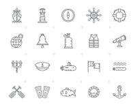 Linha marinha, fuzileiro naval, navigação e ícones do mar ilustração royalty free