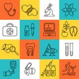 Linha médica ícones do preto do estilo A medicina e a saúde projetam símbolos lineares modernos Imagem de Stock