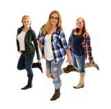 Linha meninas do país de dança Fotos de Stock Royalty Free