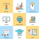 Linha moderna ícones da educação ilustração stock