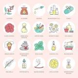 Linha moderna ícones do vetor de aromaterapia e de óleos essenciais Elementos - difusor da aromaterapia, queimador de óleo, velas Fotografia de Stock Royalty Free