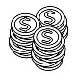 Linha moeda do dinheiro das moedas do dólar do metal ilustração do vetor