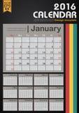 Linha molde do calendário 2016 do projeto para a ilustração do vetor do escritório para negócios do plano Imagens de Stock Royalty Free