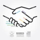 Linha molde do diagrama do aperto de mão do negócio do estilo ilustração do vetor