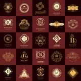 Linha monograma dos gráficos Moldes do projeto dos logotipos do vintage ajustados Emblema da letra do sinal do negócio Coleção do Fotografia de Stock Royalty Free