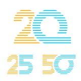 20 25 linha número de 50 aniversários Fotos de Stock