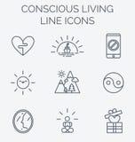 Linha na moda ícones ajustados da vida consciente Foto de Stock Royalty Free
