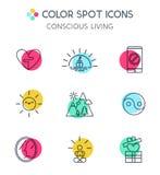 Linha na moda ícones ajustados da vida consciente Imagens de Stock