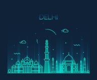 Linha na moda arte da ilustração da skyline da cidade de Deli Ilustração Royalty Free